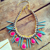 Hand painted rhinestones necklace statement bib neon by neontribe