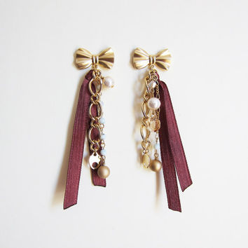 Wine Red Bow and White Cotton Pearl Chain Earrings – Handmade Earrings, Gold Bow / Wine Red, for birthday, Drop Earrings