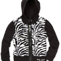 Baby Phat - Kids Girls 7-16 Zebra Faux Fur Hoodie Sweater