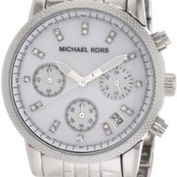 Michael Kors Watches Silver Chronograph with Stones (Silver)