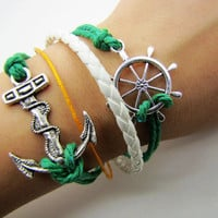 silvery Anchor Rudder Leather and Ropes Women by braceletcool