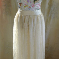 Meadow Bustier Wedding Gown... L/XL... dress boho whimsical woodland country vintage inspired embroidery free people lace boho eco friendly
