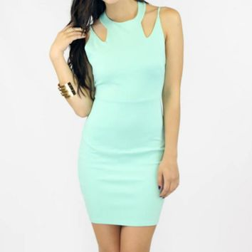 Mint Cut Out Open Back Mini Dress