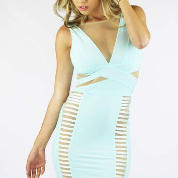 Mint Bodycon Cut Out Dress