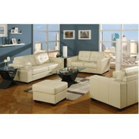 Ivory Leather Sofa & Loveseat Living Room Set