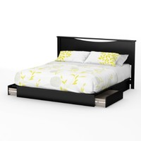 South Shore Step One Platform Bed with Drawers, King, Pure Black