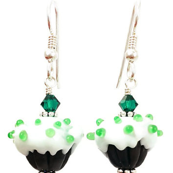 Green Cupcake Earrings