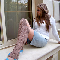 Lacy Leg Warmers in Camel Brown Lace Leg Warmers by natalya1905