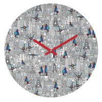 Sharon Turner Birds And Rockets Round Clock