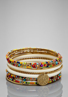 ideeli | CARA COUTURE Brightly-Hued Bead Bangles