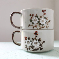 Plum Blossom Soup Cups  Set of 2 Vintage Ceramic Mugs by BootsNGus