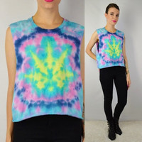 Tie Dye Psychedelic Pot Leaf Pastel Soft Grunge 420 Sativa Diva Cotton Candy LARGE Womens handmade Clothing Pink Blue Yellow Hippie