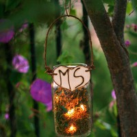 Upcycled Personalized Glass Jar Outdoor Rustic by braggingbags