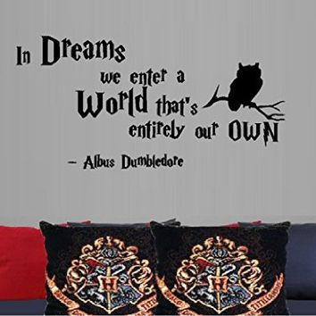 """IN DREAMS WE ENTER A WORLD #2 DUMBLEDORE ~ HARRY POTTER - WALL DECAL , 13"""" X 26"""""""