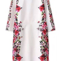 Classic Floral Pattern Sheath Dress - OASAP.com