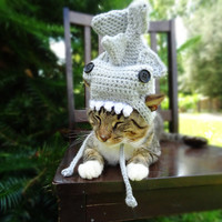 Shark Costume for Cats and Extra-small Dogs  - The Hammerhead Shark Hat for Cats and Small Dogs - Shark Pet Halloween Costume