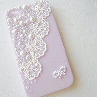 Light Purple lace and pearl iphone case by CeciliaJewelry on Etsy