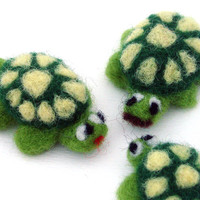 Needle felted Turtle Family  3 cute felt animals  by drudruchu