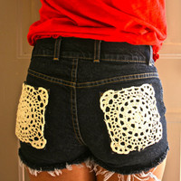 Crochet distressed denim shorts by FashionDose on Etsy
