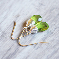 Bright Green Earrings Sterling Silver Peridot Quartz by starletta