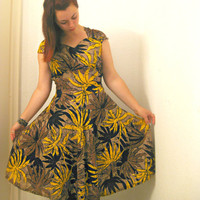Vintage Banana Leaf Dress african tribal boho by ThisIsClothing