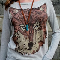 Brown Wolf Face Slouchy Sweatshirt by pinastyles on Etsy