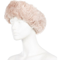Light pink faux fur head band - hats - accessories - women