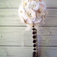 Shabby Chic wedding bouquet with yarn flowers by prettylilpieces