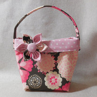 Beautiful Light Pink and Dark Gray Little Girls' Purse With Detachable Fabric Flower Pin