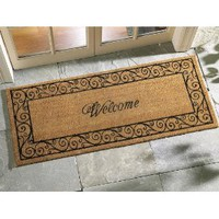 Oversized Welcome Front Door Coir Mat by Collections Etc