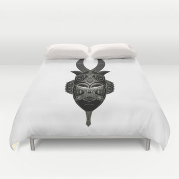 Horned tribal mask Duvet Cover by Barruf