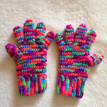 Full Finger Gloves, Multi-Colored - Children's Large / Women's XSmall