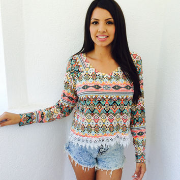 Aztec Crochet trim Top
