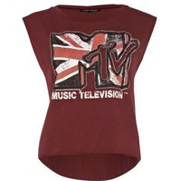 red union jack mtv print tank - tank tops - t shirts / vests / sweats - women - River Island