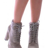 Gray Boots - Lace Up High Heel Suede | UsTrendy