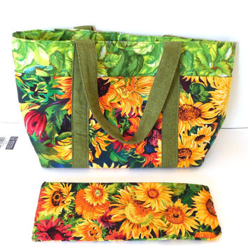 Handmade Purse, Tote Bag, Sunflower Floral, Small Purse, Cotton Fabric Purse