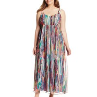 BB Dakota Women's Plus-Size Lowe Cascade Crinkle Chiffon Maxi Dress