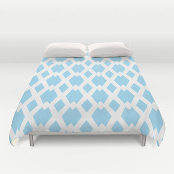 Daffy Lattice Sky Duvet Cover by Lisa Argyropoulos | Society6
