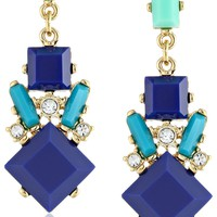 "Carolee ""Miami Mod"" Color-Block Chandelier Earrings, 1.9"""