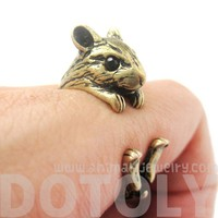 3D Miniature Guinea Pig Hamster Animal Ring in Bronze - Size 4 to 8.5
