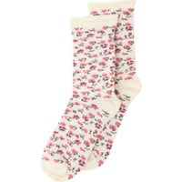 With Love From CA All Over Floral Socks - Womens Scarves - White - One