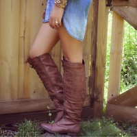 Boston Bridges Cognac Lace Up Tall Boot