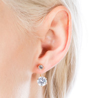 Double Up Faux Jewel Backdrop Earrings