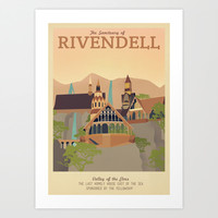 Retro Travel Poster Series - The Lord of the Rings - Rivendell Art Print by Teacuppiranha