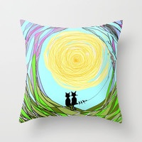 Kitty Cat Love Throw Pillow by RokinRonda