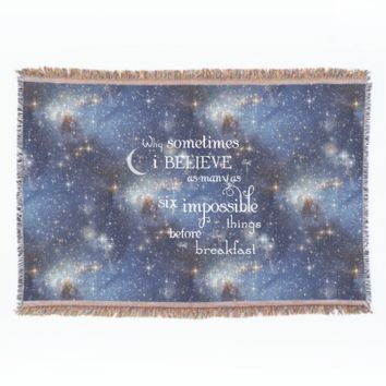 Impossible Things Starry Space Blue Throw Blanket