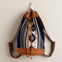 Blue and Tan Tribal Woven Backpack - World Market