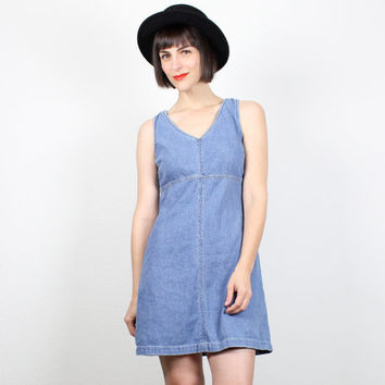 Vintage 90s Dress Denim Dress Soft Grunge Dress Mini Dress jean Jumper Sleeveless Sundress 1990s Dress Overalls Blue Dress M Medium L Large