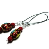 Earrings Red Coral Pearls Indian Beads Kidney Wires Handmade Jewelry