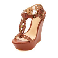STUDDED CUT-OUT T-STRAP WEDGE SANDALS